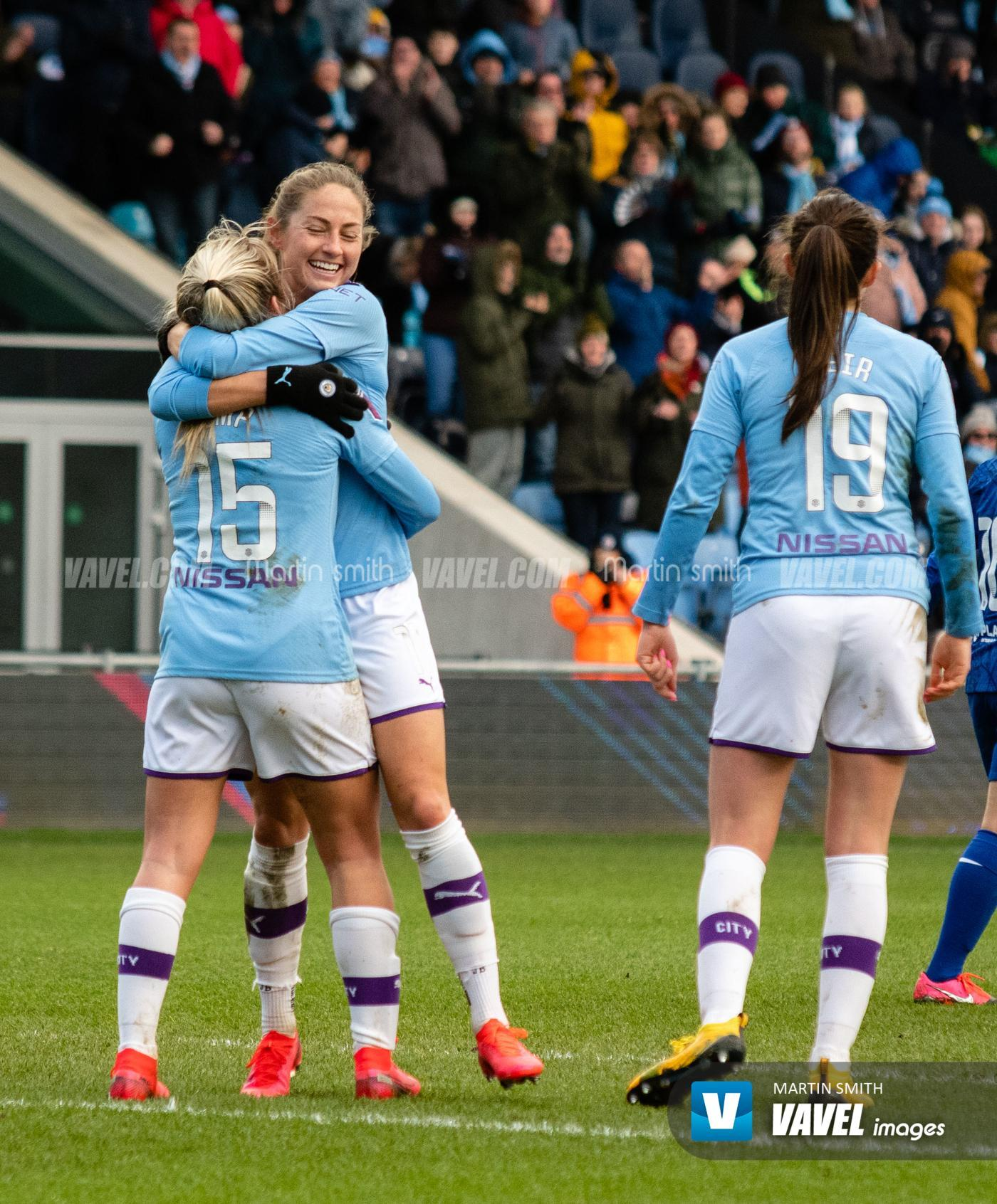 Lauren hemp celebrates a goal with Janine Beckie during ...